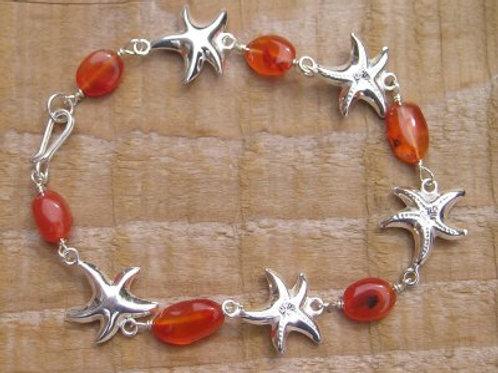 Carnelian nuggest and silver starfish Bracelet