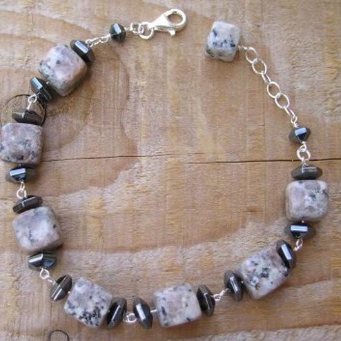 Sesame Jasper square nugget Bracelet