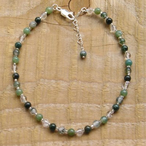 Green Moss Agate and Quartz Anklet