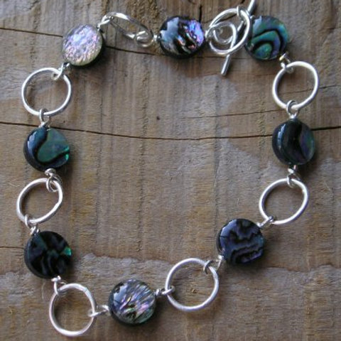Paua shell and sterling silver Bracelet