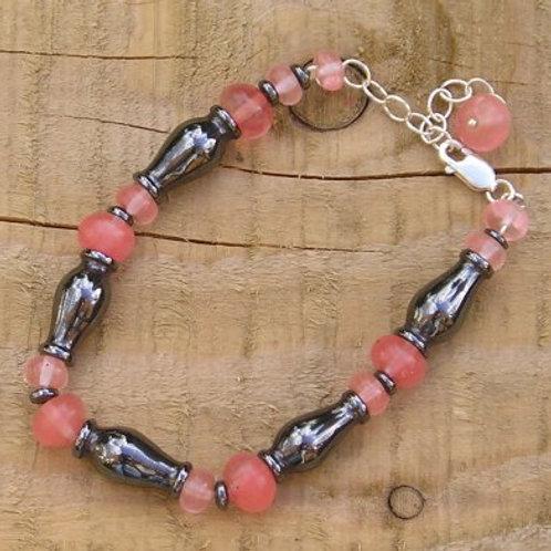 Cherry Quartz and Hematite Bracelet