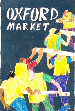 men putting up the market