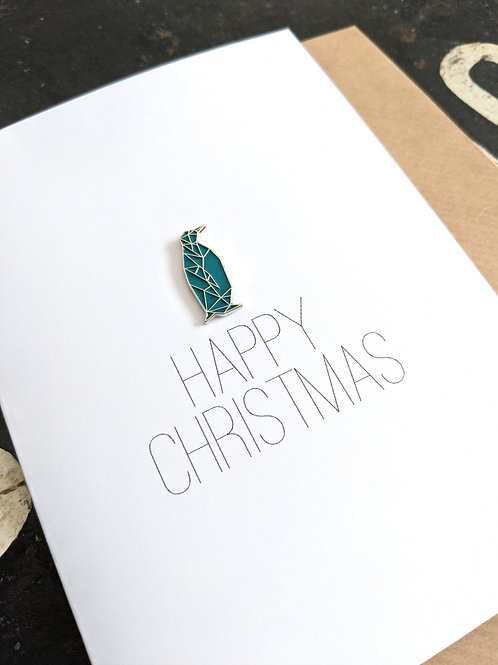 Penguin Enamel Pin Christmas Card
