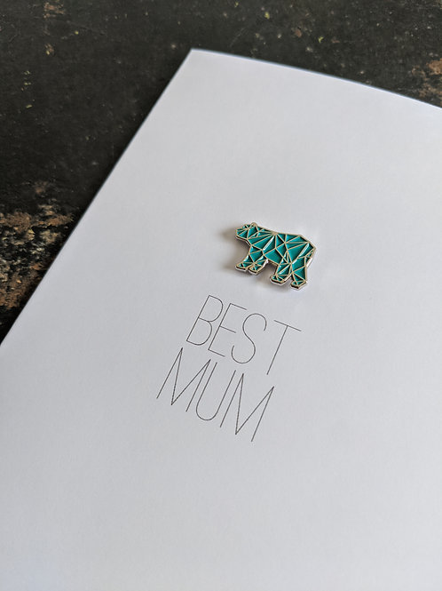 Teal Bear Enamel Pin Best Mum Card