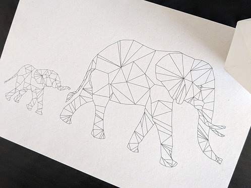 A4 Elephant Family Print