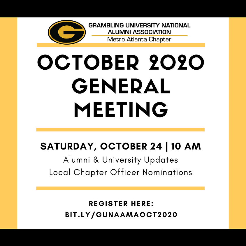 GUNAA - Metro Atlanta October 2020 General Meeting