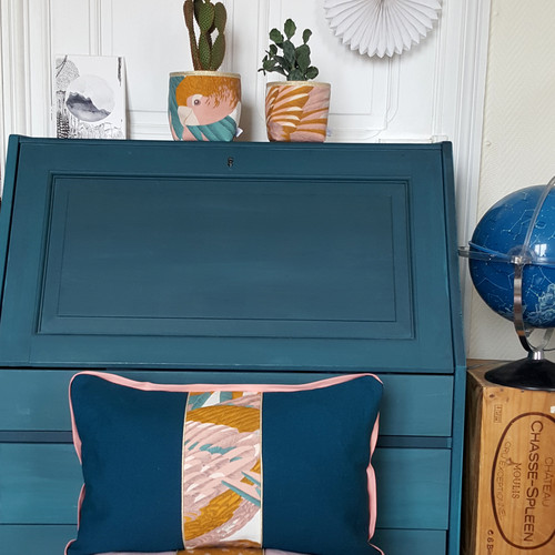 Housse coussin coton bleu rose plumage oiseaux décoration textile intérieur made in france gioia june