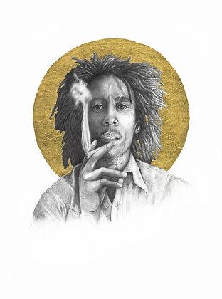 16 x 20 Poster Print of Bob Marley Drawing