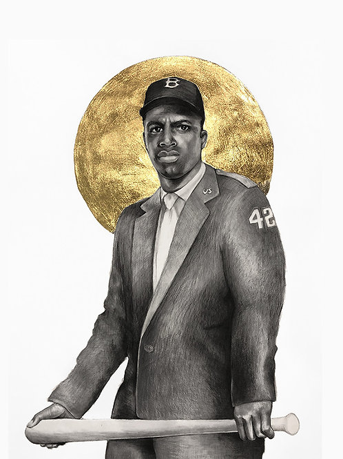 11 x 14 Portrait Print of Jackie Robinson Drawing with Gold by Lauren Clayton