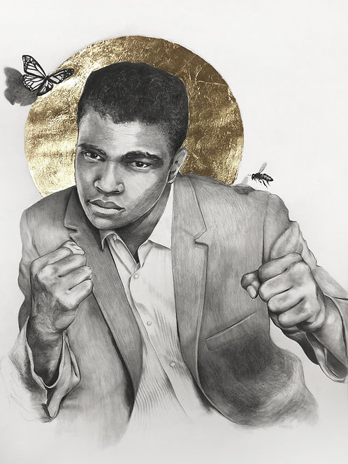16 x 20 Portrait Print of Muhammad Ali Drawing with Gold Leaf