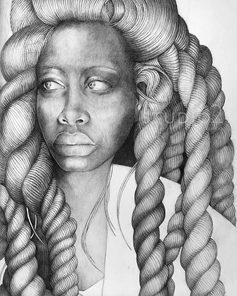 Erykah Pencil and Charcol Drawing