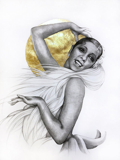 16 x 20 Portrait Print of Josephine Baker Drawing by Lauren Clayton