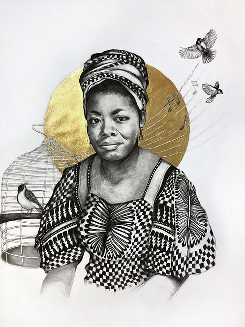 16 x 20 Poster Print of Ms. Angelou Drawing by Lauren Clayton