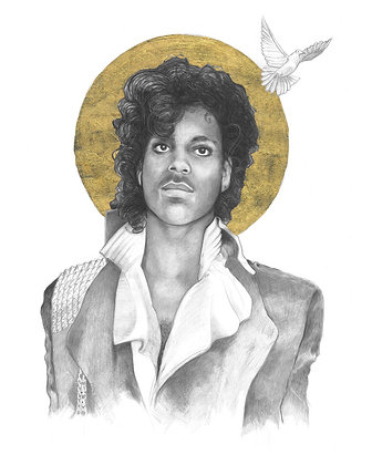 16 x 20 Portrait Print of Prince Drawing by Lauren Clayton
