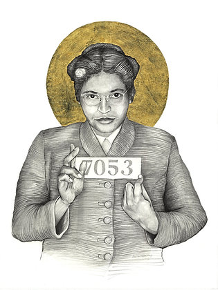 16 x 20 Portrait Print of Rosa Parks Drawing by Lauren Clayton