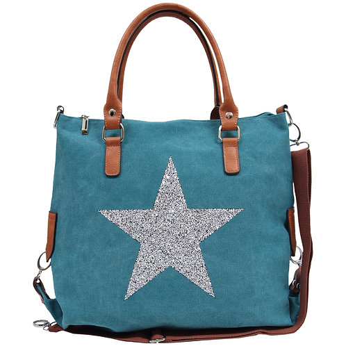 Star Power Canvas Tote - Turquoise