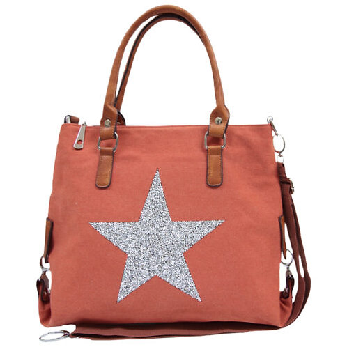 Star Power Canvas Tote - Rust