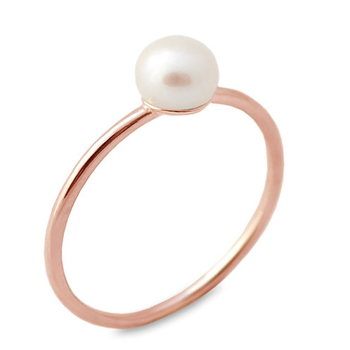 Rose Gold, Freshwater Pearl Ring  (Size L) - BIANC