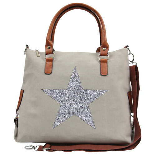 Star Power Canvas Tote - Grey