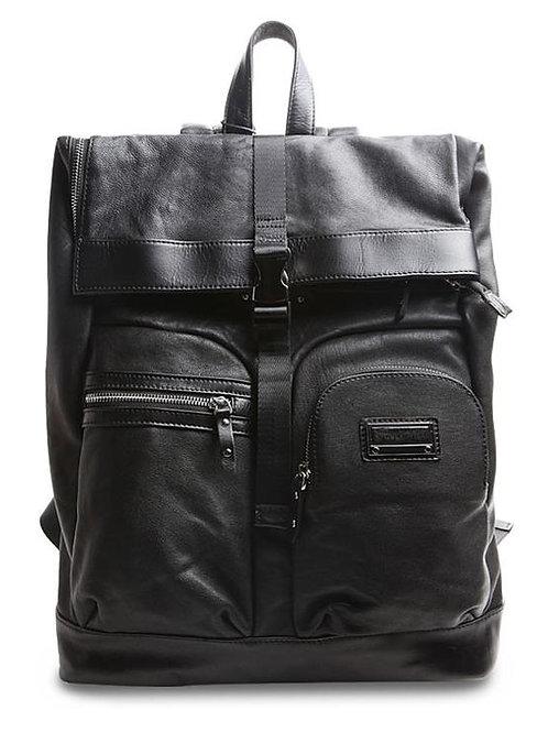 Men's Black Leather Backpack