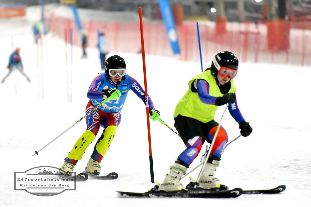 James and myself ski racing in November 2018 in Holland at the Europa Cup slalom races
