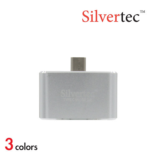Type-C to USB 2.0 2 Ports Reversible Plug Silver