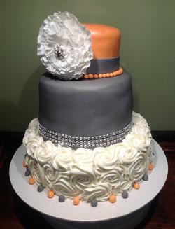 3 tiered Ruffle Flower Wedding Cake