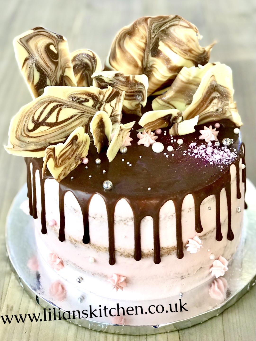 Marbled chocolate shards drip cake