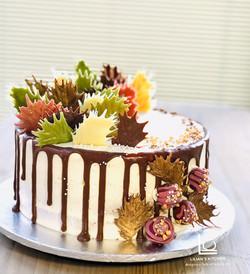 Hand painted Colour Leaf Chocolate Shards Pink Velvet Cake