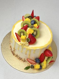 Fruit salad and zesty lemon cake
