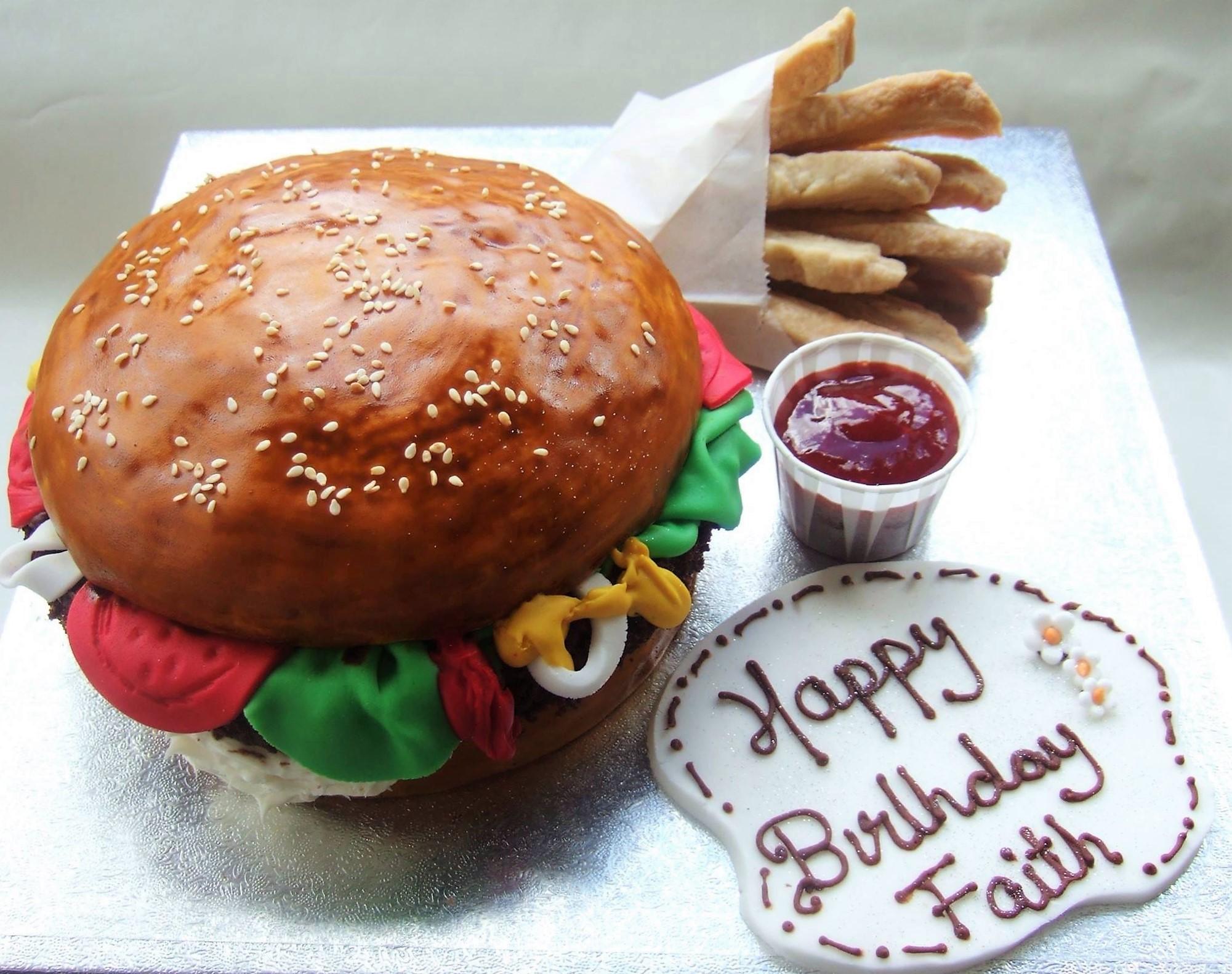 Burger & Chips Cake