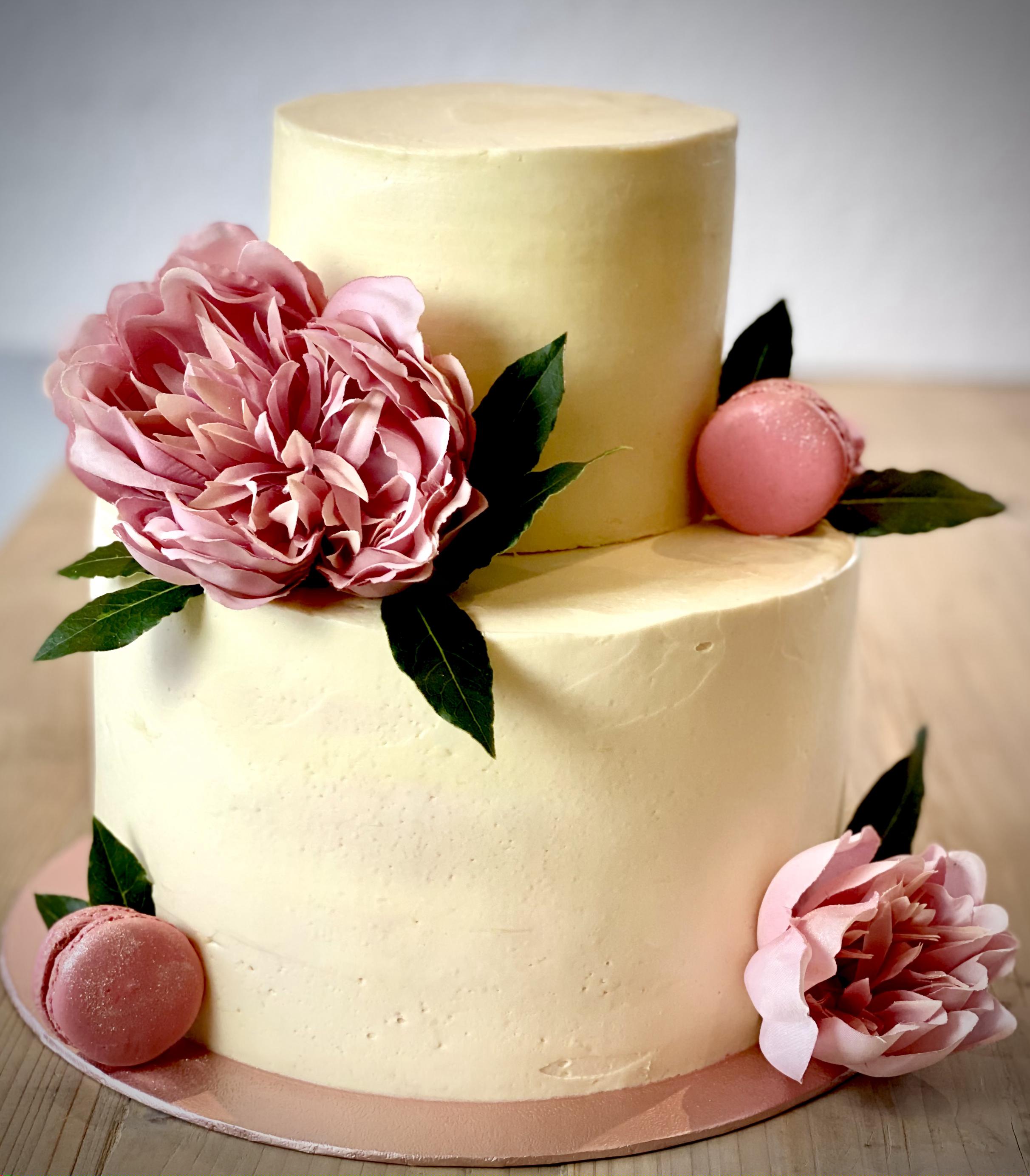 Peony & Macaron tiered cake