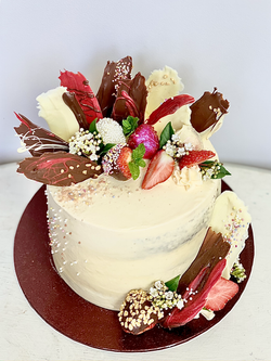 Decorated strawberries shards cake