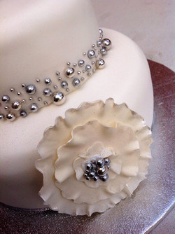 Silver Dragees Ruffle Flower Cake