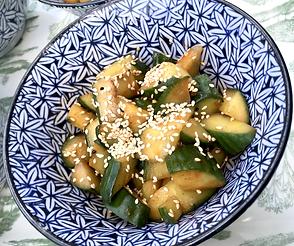 cucumber salad with Korean fermented bea