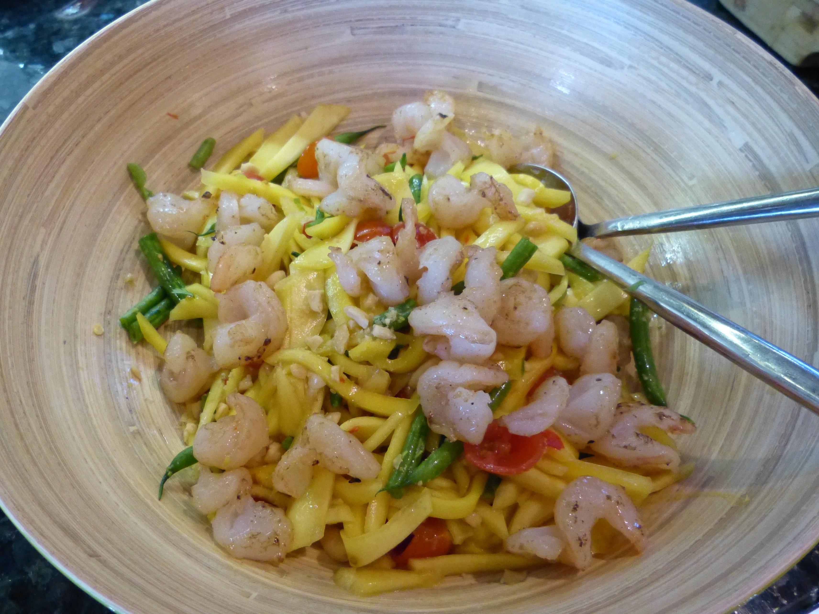 Thai Mango Salad with Pan Flashed Prawns