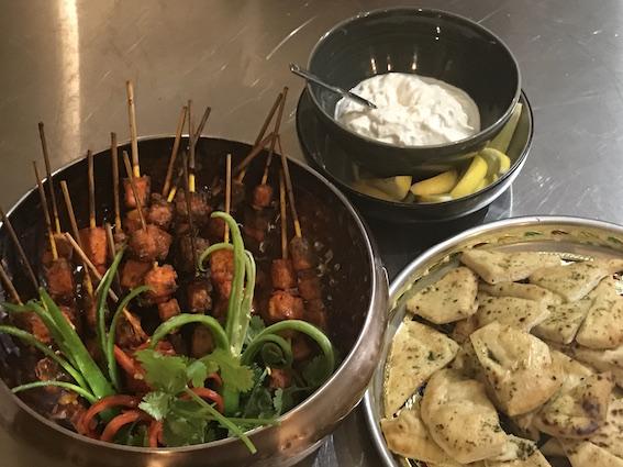 Tandoori Tofu with Smoked Garlic Greek Yoghurt Dip and Coriander Naan Bread