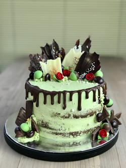 Chocolate Mint Semi Naked Drip Cake