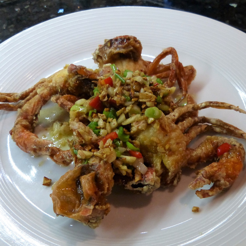 Soft Shell Crabs with Crispy Garlic, Chilli, Butter and Fish sauce