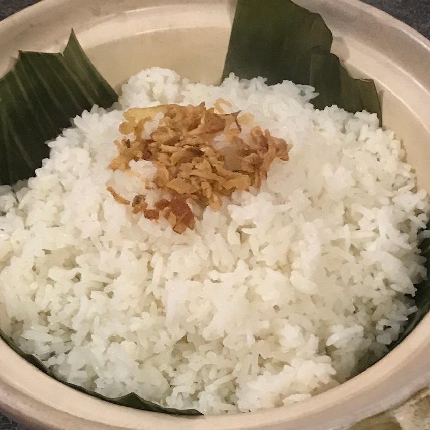 Pandan Ginger Jasmine Rice with Banana Leaf