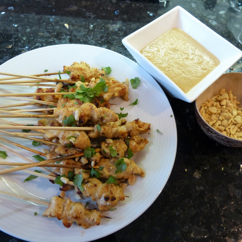 Thai Chicken skewers with Spicy Peanut Dip