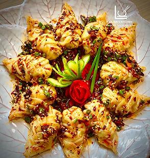 Mandu- Korean dumplings with  chilli oil