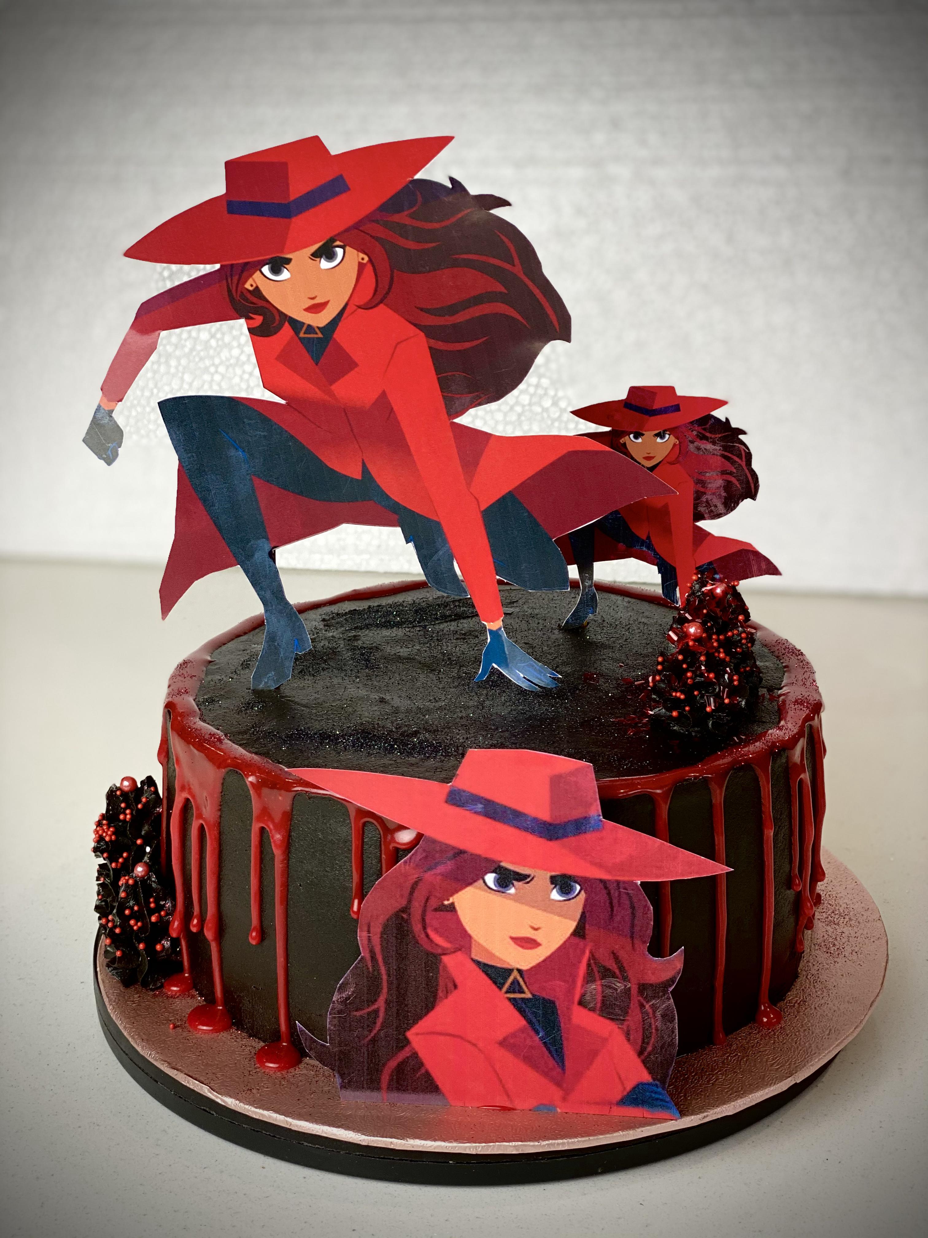 Carmen Sandiego black cake