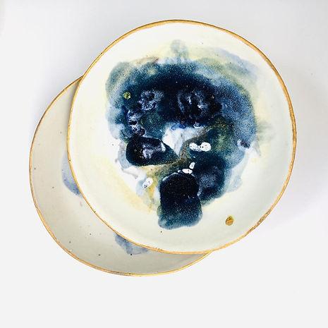 assiette, ceramique, or, fait main