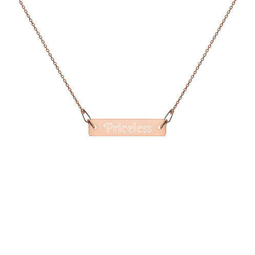 Priceless Engraved Silver Bar Chain Necklace