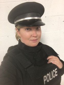 On set as a Police Officer