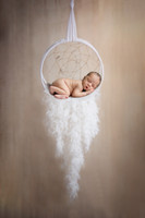 Newborn boy in dreamcatcher with feathers by bmariephotography