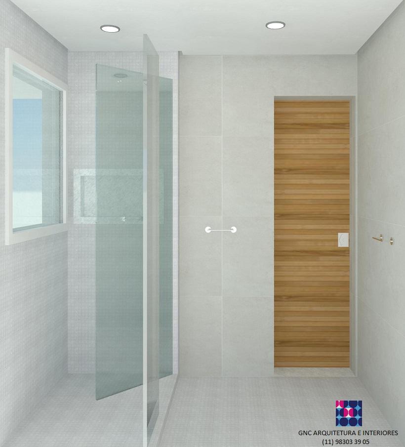 banho suite olhando porta