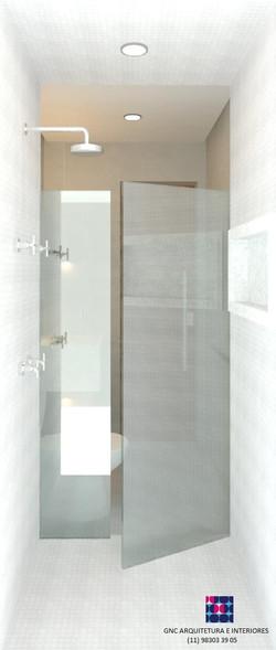 banho comum olhando a porta