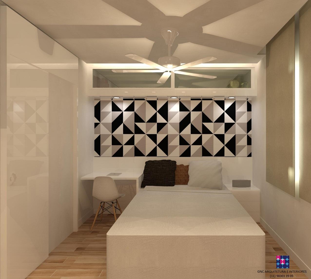 suite olhando cabeceira da cama